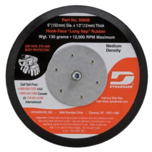 "Dynabrade 50606 6"" Dia. Non-Vacuum Disc Pad, Hook-Face, Long Nap"