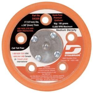 "Dynabrade 54326 5"" Dia. Vacuum Disc Pad, Hook-Face, Short Nap"
