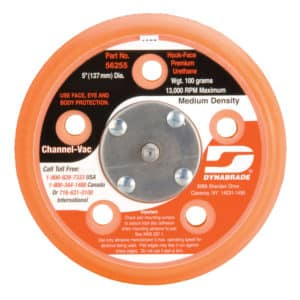 "Dynabrade 56255 5"" Dia. Vacuum Disc Pad, Hook-Face, Short Nap"