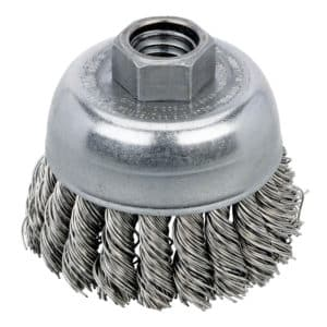 "Dynabrade 78823 Knot Wire Cup Brush 2-3/4"" Dia. x .020 x 5/8""-11 UNC AH Stainless Steel"