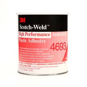 3M 83760, High Performance Industrial Plastic Adhesive 4693, Light Amber, 1 Gallon Can, 7000046575, 4/case