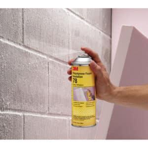 3M 07279, Polystyrene Foam Insulation Spray Adhesive 78, Inverted, Clear, 24 fl oz Can (Net Wt 17.9 oz), 7000046591, 12/Case