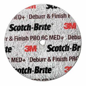 3M 65021, Scotch-Brite Deburr and Finish Pro Unitized Wheel, DP-UW, 6C Medium+, 3 in x 1/8 in x 1/4 in, 7100053418